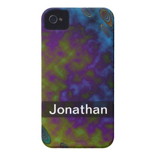 Personalize o abstrato roxo azul do verde capa iPhone 4 Case-Mate