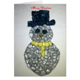 Personalize o boneco de neve do seixo cartão