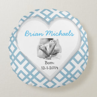 Personalize o coração unisex do amor do bebê, azul almofada redonda