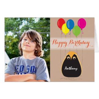 Personalize o feliz aniversario com uma coruja cartão