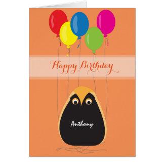 Personalize o feliz aniversario com uma coruja cartão comemorativo