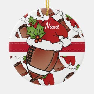 Personalize o futebol do Natal do chapéu do papai Ornamento De Cerâmica Redondo