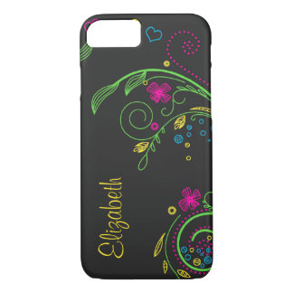 Personalize o néon floral capa iPhone 7