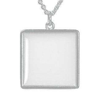 Personalize o seu Próprio Medalhão de Prata de Lei Colar Com Pendente Quadrado