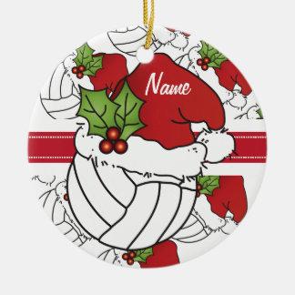 Personalize o voleibol do Natal do chapéu do papai Ornamento De Cerâmica Redondo