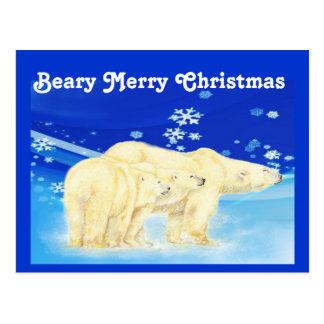 Personalize ursos polares do Feliz Natal de Beary Cartão Postal