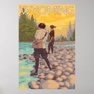 Pesca com mosca das mulheres - Wyoming Pôster