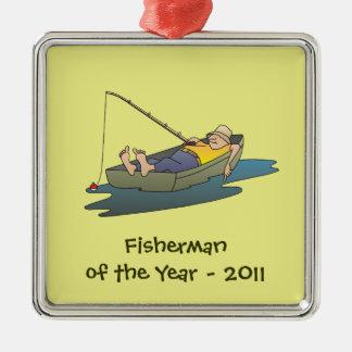 Pescador do prêmio do ano - dia preguiçoso do ornamento quadrado cor prata