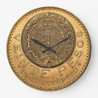 Pesos Oro Puro de Veinte Relógio Para Parede
