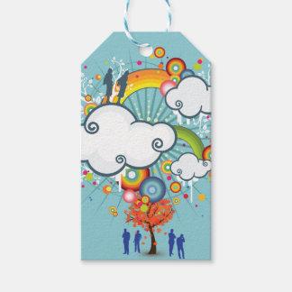 Pessoas do Tag do presente da nuvem do arco-íris