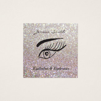 pestanas glittery elegantes glamoroso & cartão de visitas quadrado