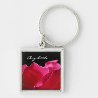 Pétalas cor-de-rosa cor-de-rosa com nome chaveiro quadrado na cor prata