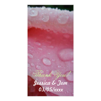 Pétalas cor-de-rosa cor-de-rosa que wedding cartão com foto