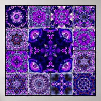 Pétalas roxas & azuis da flor da íris, montagem do posters