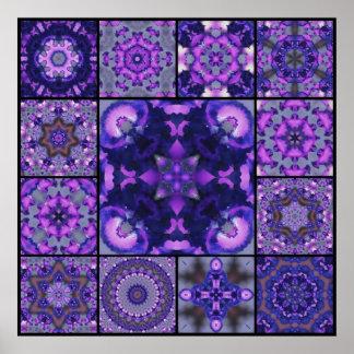 Pétalas roxas & azuis da flor da íris, montagem do impressão