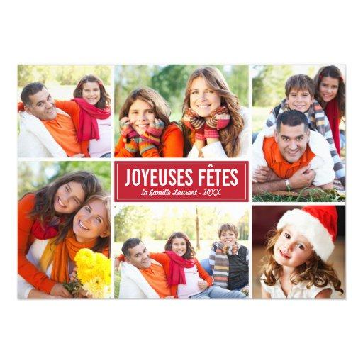 Photo Collage de Noël Carte de Voeux | en Rouge Convites