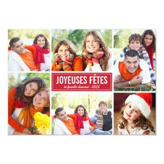 Photo Collage de Noël Carte de Voeux | en Rouge Convite 12.7 X 17.78cm