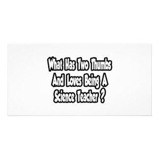 Piada do professor de ciências… dois polegares cartão com foto
