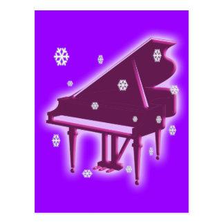 Piano e flocos de neve cartão postal