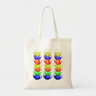 Pilha de bules pintados bolsa tote