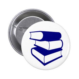 Pilha de livros azuis bóton redondo 5.08cm