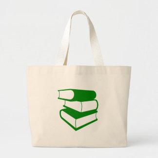 Pilha de livros verdes bolsa tote grande