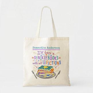 Pilha do humor dos leitores de livros com as bolsa tote