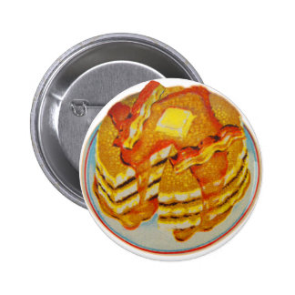Pilha do kitsch do vintage de panquecas e de bacon bóton redondo 5.08cm