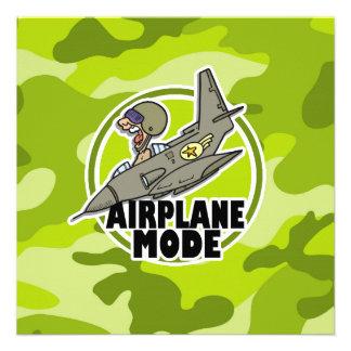 Piloto engraçado camo verde-claro camuflagem convite
