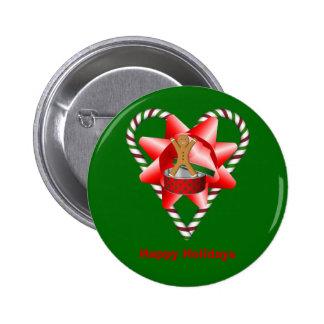 Pin do botão do feriado do Natal do coração do bas Bóton Redondo 5.08cm