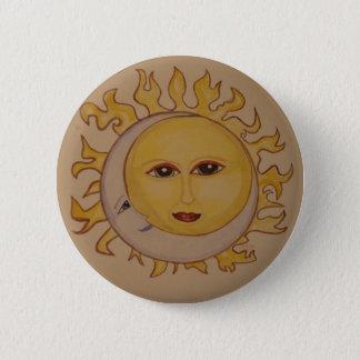 Pin do Watercolour da lua de Sun Bóton Redondo 5.08cm