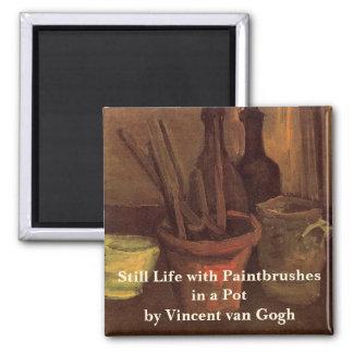 Pincéis de Van Gogh em um pote, do vintage vida Ímã Quadrado