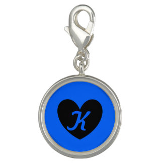Pingente Corações pretos da polca no azul