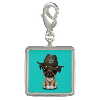 Pingente Xerife bonito do cão de filhote de cachorro do Pug