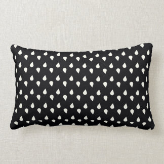Pingos de chuva preto e branco almofada lombar