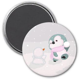 Pinguim bonito do bebê, boneco de neve pequeno ímã redondo 7.62cm