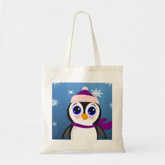 Pinguim com chapéu bolsa tote