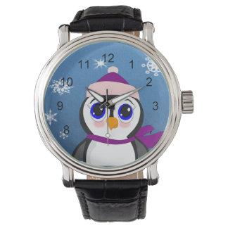 Pinguim com chapéu relógio de pulso