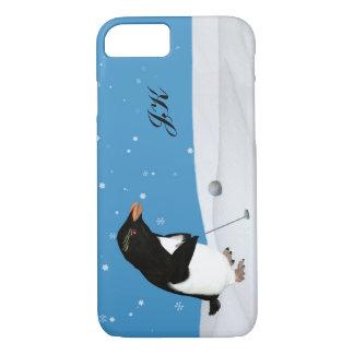 Pinguim cómico que joga o golfe, monograma capa iPhone 7