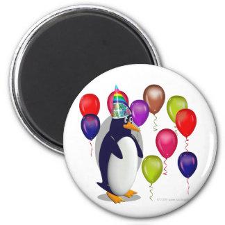 Pinguim do aniversário ímã redondo 5.08cm