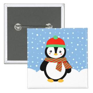 Pinguim do feriado bóton quadrado 5.08cm