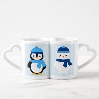 Pinguim do inverno e urso polar personalizados caneca para namorado