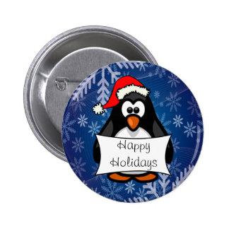 Pinguim do Natal Bóton Redondo 5.08cm