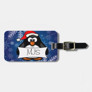 Pinguim do Natal Etiqueta De Bagagem