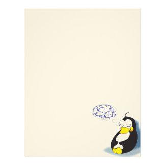 pinguim do sono que sonha sobre o cabeçalho dos pe papel de carta