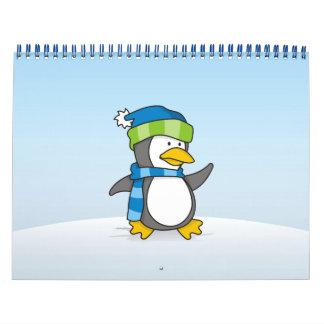 Pinguim pequeno que anda na neve calendário