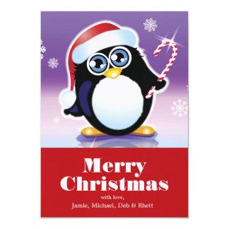 Pinguim que veste o chapéu do papai noel, convite 12.7 x 17.78cm
