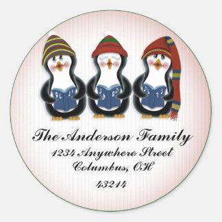 Pinguins 1 do Natal - etiquetas de endereço do Adesivo