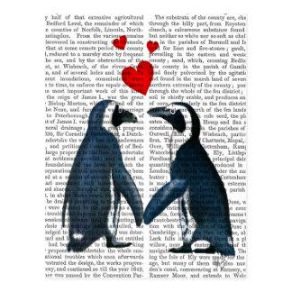 Pinguins com corações do amor cartão postal