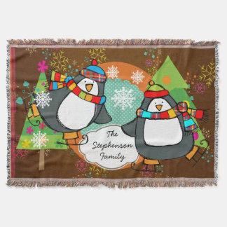 Pinguins e lance de patinagem do feriado das throw blanket